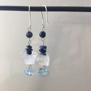 Clear Quartz Earrings With Aquamarine, Sodalite & Lapis Lazuli