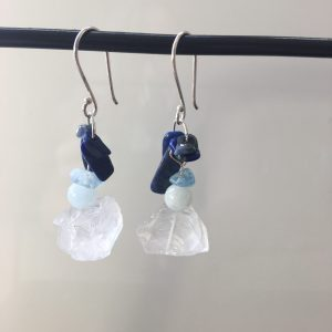 Clear Quartz Earrings With Aquamarine & Lapis Lazuli