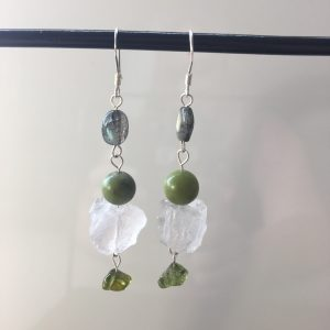Clear Quartz Earrings With Labradorite, Jade & Peridot
