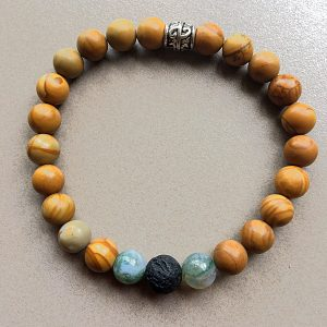 Petrified Wood Bracelet With Indian Agate & Lava