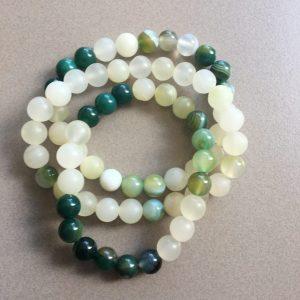 White Jade & Green Striped Agate Bracelet