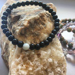 Black Stretch Bracelet With Aquamarine