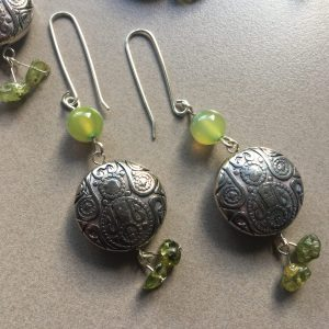 Green Agate & Peridot Earrings