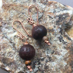 Wood, Picture Jasper & Copper Earrings