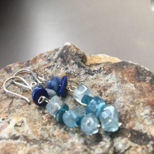 Sodalite, Lapis & Aquamarine Earrings