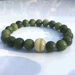 Green Jade Bracelet With Italian Onyx
